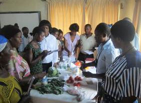 The photo shows the participants analyzing the local available foods to feed the children.