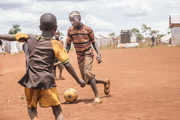 Fotball at Child Friendly Space, Nyarugusu Refugee Camp, Tanzania